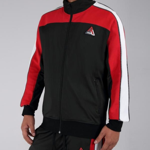 Black Pyramid Red Athletic Color Track Jacket